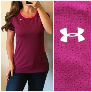 UNDER ARMOUR Purple Pink Mesh Fitted Workout Tee S